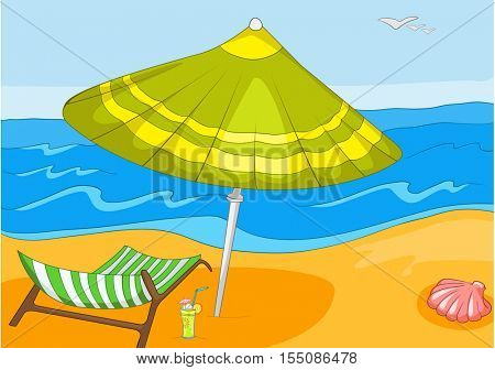 Hand drawn cartoon of summer sea landscape. Background of beach resort. Colourful cartoon of summer background. Cartoon background of tropical beach with ocean, chaise lounge and beach umbrella.