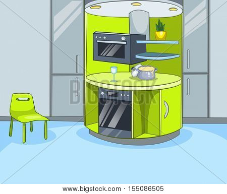 Hand drawn cartoon of contemporary kitchen interior. Colourful cartoon of kitchen background. Cartoon of modern kitchen interior. Cartoon of kitchen with furniture and kitchen appliances.