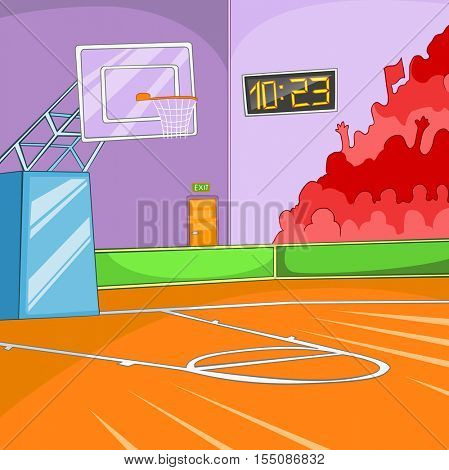 Hand drawn cartoon of basketball court. Colourful cartoon of background of basketball court. Cartoon background of basketball court. Cartoon of sport arena. Background of empty basketball arena.