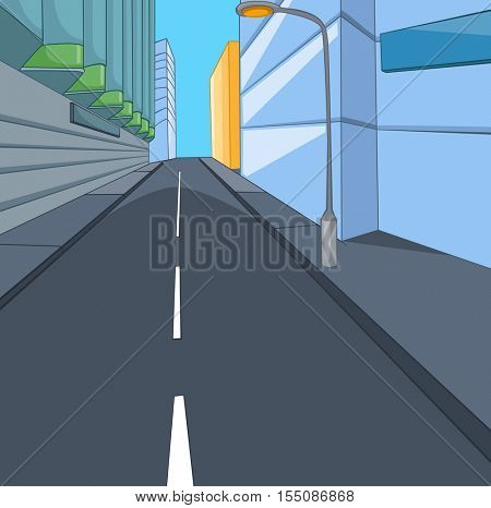 Hand drawn cartoon of street in the city center. Colourful cartoon of urban landscape. Cartoon background of modern city with road and skyscrapers. Background of downtown. Cartoon of city background.