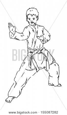 vector - karate kid - isoalted on background