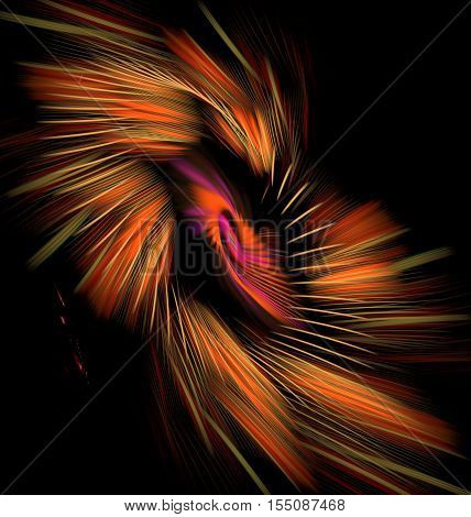 Abstract variegated orange spiral on black background with bright multicolored lines