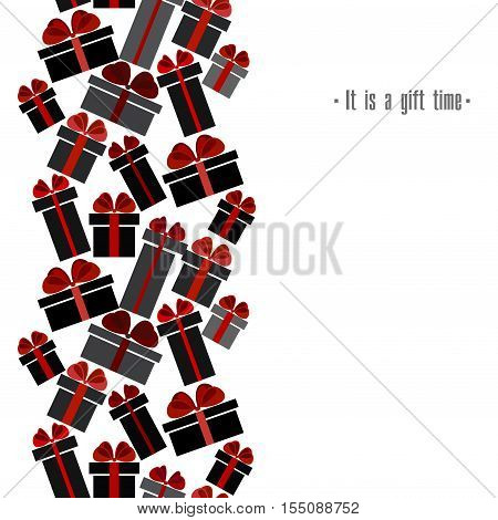 Black Friday sale black red white gift boxes vertical seamless border. Light Black Friday sale design. Vector illustration stock vector.