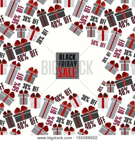 Black Friday sale black red white gift boxes square frame with seamless border pattern. Light Black Friday sale design. Vector illustration stock vector.