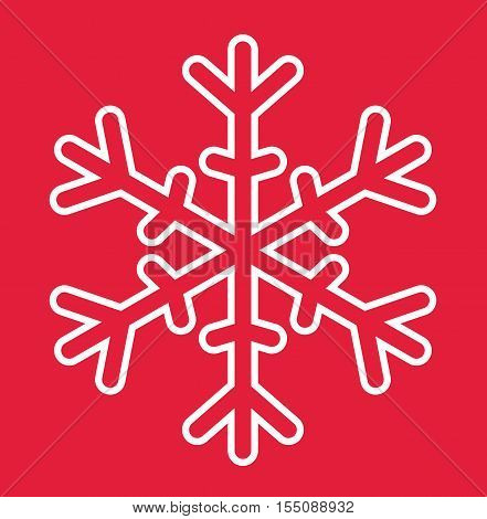Snowflake Christmas Card - Merry Christmas Snowflake White On Red Background Ilustration Vector Flat Stock