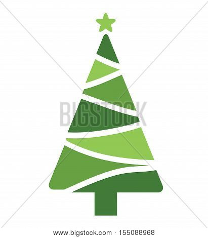 Tree Christmas Card - Tree Christmas White Background Illustration Vector Flat Stock