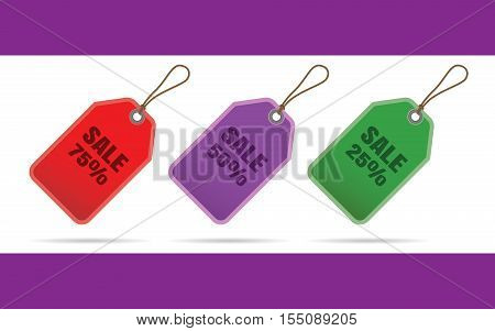 3 different tag color discounts 25, 50, 75 percent. Vector illustration.