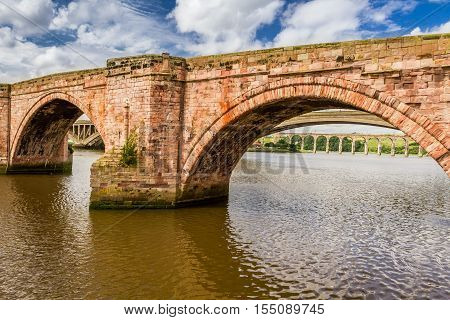 Old bridge in Berwick upon Tweed in summer