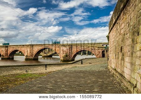 Old Bridge Over River Tweed In Scotland
