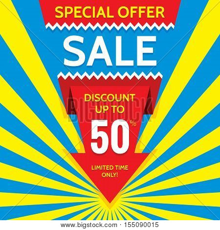 offer, print, layout, special, retail, red, business, arrow, concept, yellow, vector, bright, holiday, location, circle, celebration, event, discount, marketing, vertical, price, rays, creative, sale, decorative, design, color, blue, colorful, banner, sto