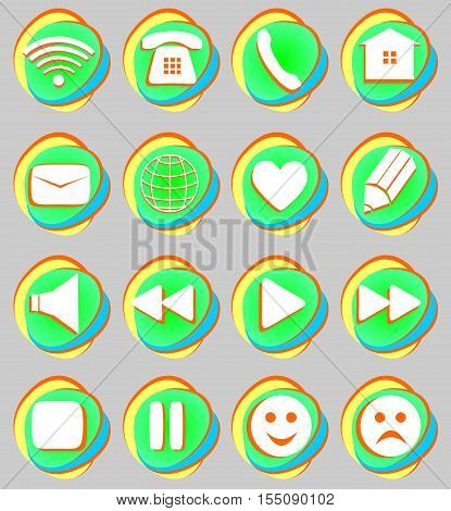 Signs connection e-mail play pause phone communication set. Simple Internet button beauty shape on gray background. Vector illustration for web design. A set of white symbol