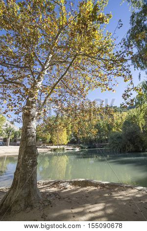 Recreation area on the River Jucar beautiful mountain views limestone next to the city take in Alcala of the Jucar Albacete province Spain