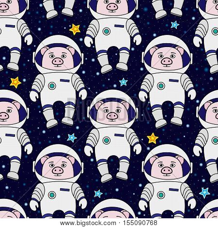 Pig astronaut and stars in space, cartoon style vector seamless patternv for textile, cover, wrapping paper, prints. Cute piglet as spaceman in starry space, seamless pattern