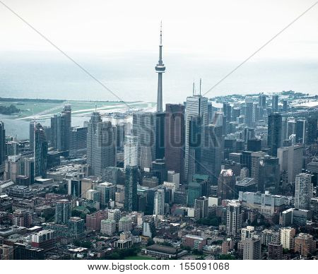 aerial view of the Toronto skyline from the helicopter