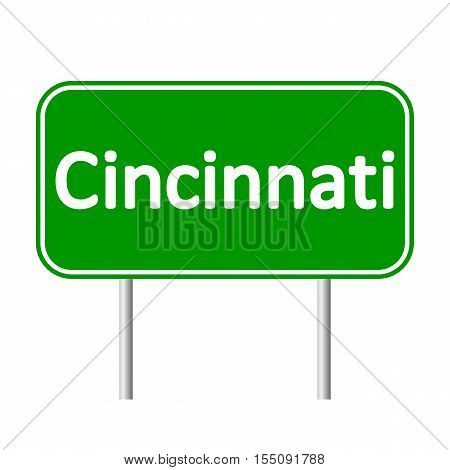 Cincinnati green road sign isolated on white background.