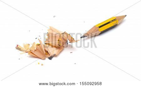 very short pencil sharpened on both ends isolated on white
