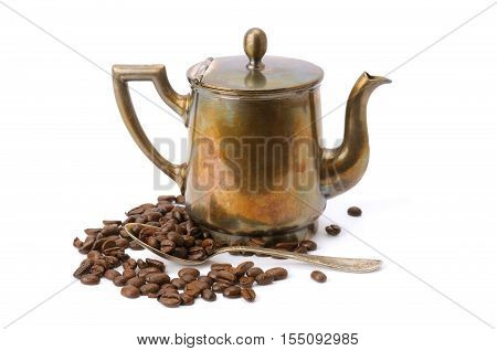 old coffee pot spoon and coffee beans isolated on white background