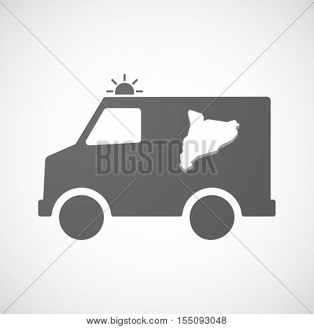 Isolated Ambulance Furgon Icon With  The Map Of Catalonia