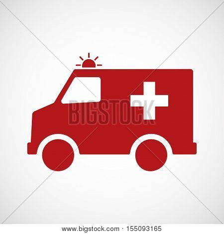 Isolated Ambulance Furgon Icon With   The Swiss Flag