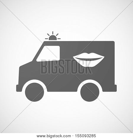 Isolated Ambulance Furgon Icon With  A Female Mouth Smiling