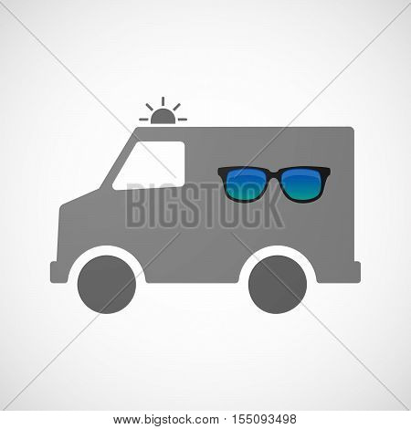 Isolated Ambulance Furgon Icon With  A Sunglasses Icon