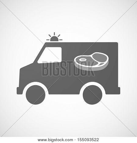 Isolated Ambulance Furgon Icon With  A Steak Icon