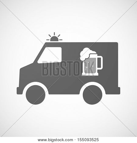 Isolated Ambulance Furgon Icon With  A Beer Jar Icon