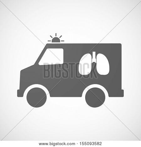 Isolated Ambulance Furgon Icon With  A Healthy Human Lung Icon