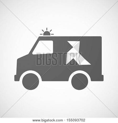 Isolated Ambulance Furgon Icon With  A Paper Bird