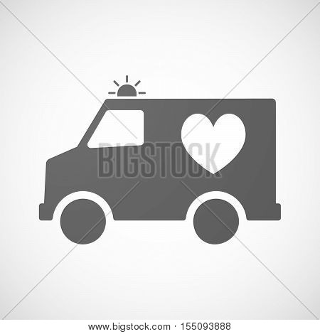 Isolated Ambulance Furgon Icon With  The Heart Poker Playing Card Sign