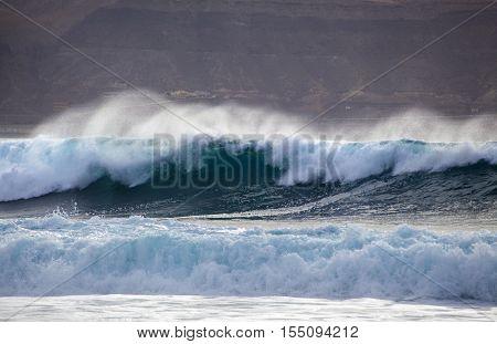 Ocean Wave Breaking By Confital Beach, North East Of Gran Canaria