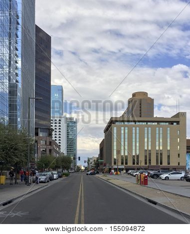 PHOENIX AZ - NOVEMBER 3 2016: 1st Street between Jefferson and Washington road in crowded downtown of major Arizona city of Phoenix. Copy Space