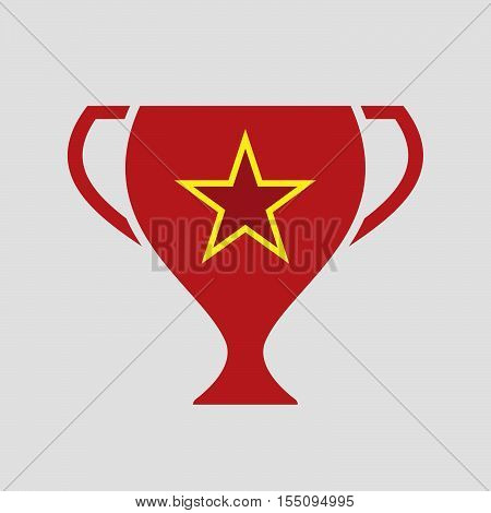 Isolated Award Cup Icon With  The Red Star Of Communism Icon