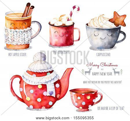 Watercolor collection with a choice of hot drinks: apple cider, tea, chocolate, cappuccino.