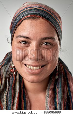 Real gypsy woman smiling portrait full collection of diverse faces