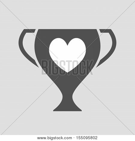 Isolated Award Cup Icon With  The Heart Poker Playing Card Sign