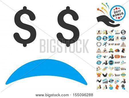 Bankrupt Sad Emotion icon with bonus 2017 new year clip art. Vector illustration style is flat iconic symbols, modern colors.