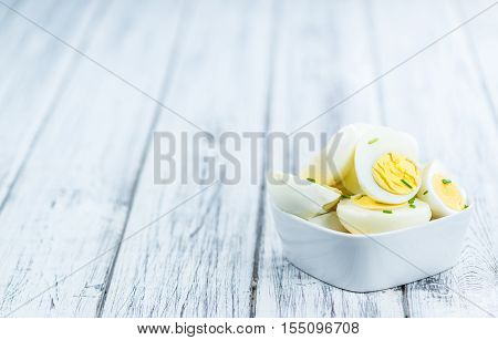 Wooden Table With Halved Eggs