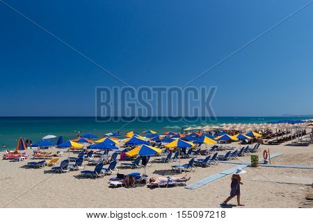 Rethymno Greece. July 27. 2016: Beach. Rethymno is the 3rd largest city of the island. Crete attracts 2.8 million annual tourists (2011).