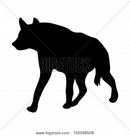Hyena vector illustration black silhouette side profile