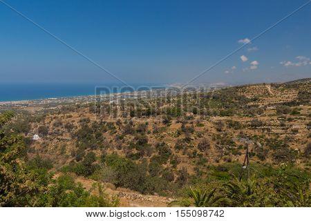 Agia Irini Greece. July 27. 2016: Panoramic view to Rethymno from Agia Irini Monastery.