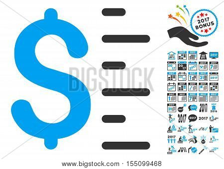 Dollar Value icon with bonus 2017 new year graphic icons. Vector illustration style is flat iconic symbols, modern colors.
