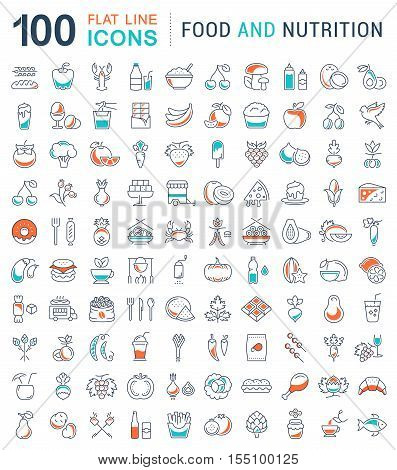 Big set vector line icons meal seafood fruit vegetables and fast food in flat design with elements for mobile concepts and web. Collection modern infographic logo and pictogram.