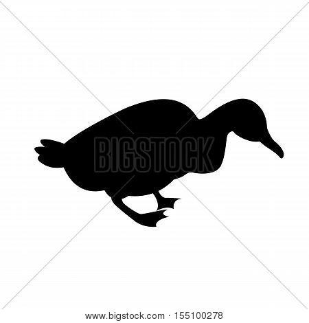 duck vector illustration  black silhouette side profile
