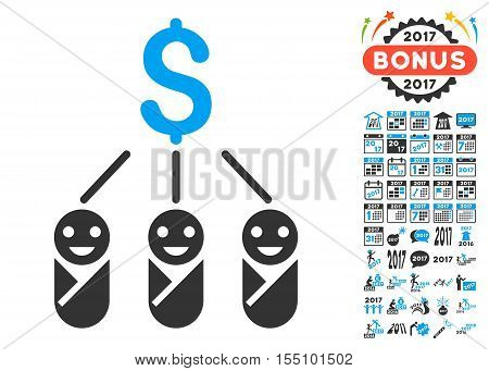 Kid Expenses pictograph with bonus 2017 new year symbols. Vector illustration style is flat iconic symbols, modern colors. poster