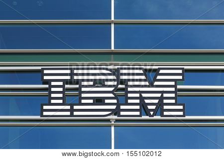Skejby, Denmark - September 11, 2016: IBM logo on a building. International Business Machines Corporation commonly referred to as IBM is an American multinational technology and consulting corporation
