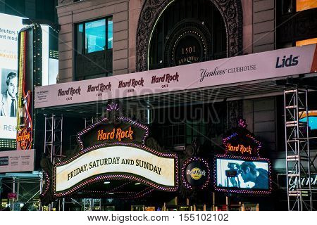 Hard Rock Cafe Times Square by night in New York City United States Skyline 25.05.2014