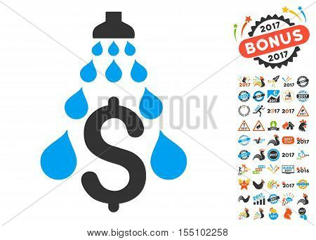 Money Laundering icon with bonus 2017 new year images. Vector illustration style is flat iconic symbols, modern colors.