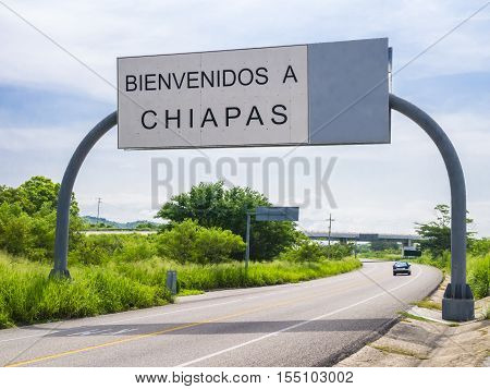 View of Welcome in Chiapas road sign, Mexico