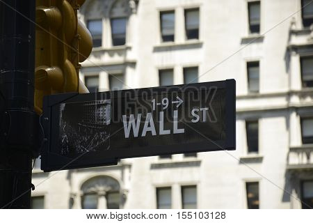 Wall Street Sign Financial district in New York City USA Big Apple
